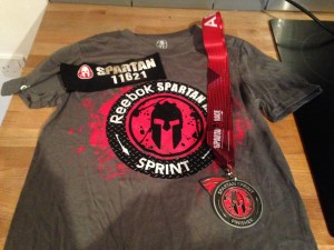 The Spartan Sprint Shirt and Medal, what an achievement!